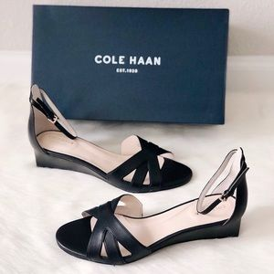 ✨New COLE HAAN Hana Grand Wedge Leather Sandals